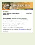 Wholesale Bulletin 21W-002 Fast Forward Roll Out 2021