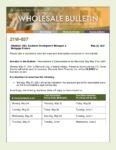 Wholesale Bulletin 21W-037 Rescissions Disbursement Dates for Memorial Day 2021