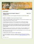 Wholesale Bulletin 21W-051- Introducing the Diamond Program