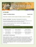 Wholesale Bulletin 21W-061 Rescissions & Disbursements for Labor Day